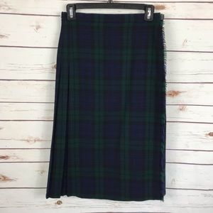 Vintage Pure Wool Black Watch Tartan Kilt Skirt